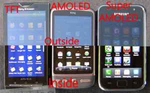 Samsung Galaxy S (Super AMOLED), HTC Desire (AMOLED) и Sony Ericsson XPERIA X10 (TFT)