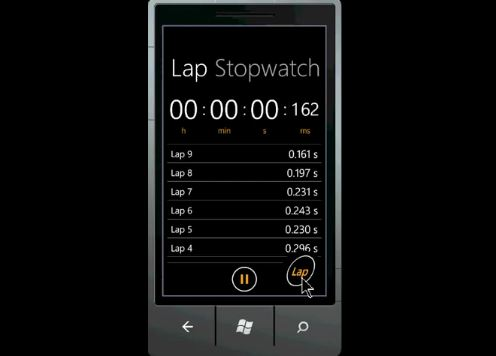 StopWatch - секундомер для Windows Phone 7