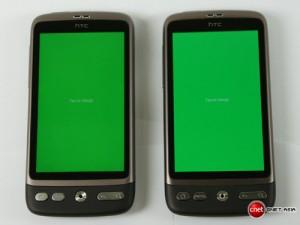 AMOLED (справа) vs SLCD (слева) - зеленый
