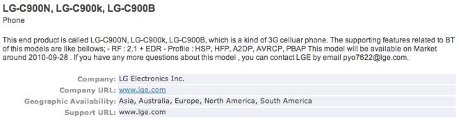 LG C900 Bluetooth SIG