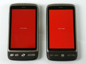 AMOLED (справа) vs SLCD (слева) - красный