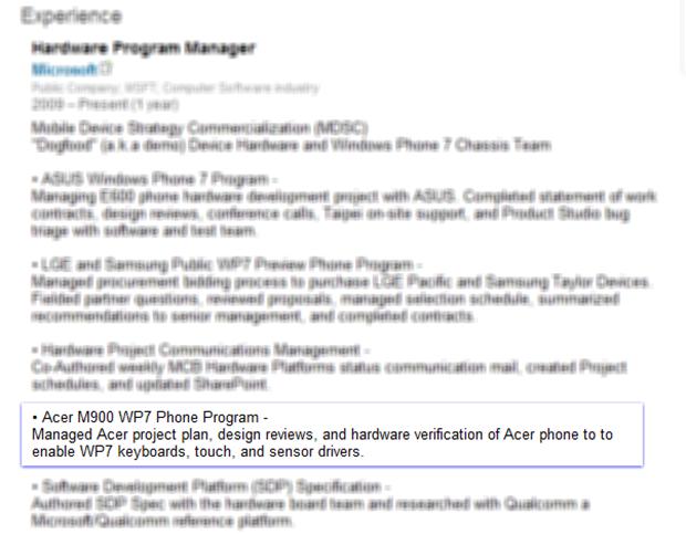 О аппарате от Acer с Windows Phone 7