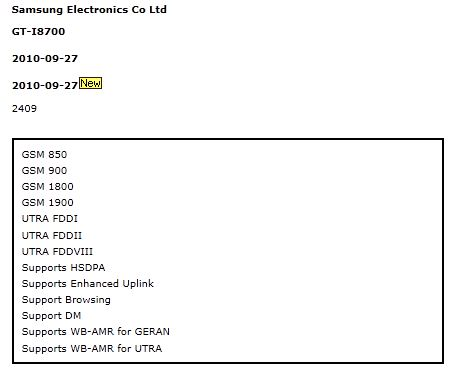 Samsung GT i8700 - GCF