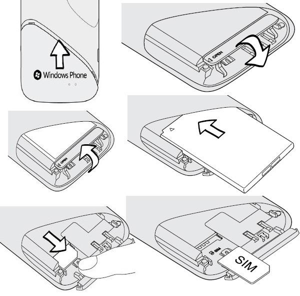 Инструкция по смене аккумулятора и симки в HTC Mozart