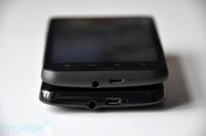 Сравнение толщины HTC HD7 и HTC Desire