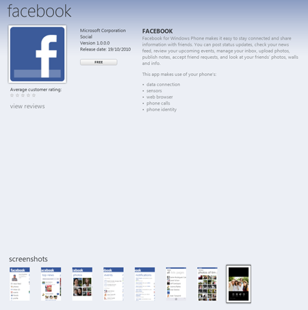 Windows Phone 7 Marketplace - Facebook