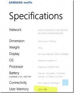 Samsung Omnia 7 с 16 Гб