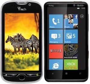 HTC myTouch 4G и HTC HD7