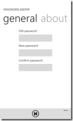 Password Keeper для Windows Phone 7