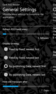 Dark RSS Reader - основные настройки