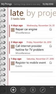MyThings 2.0 - программа для Windows Phone 7