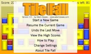 Tile Fall - основное меню