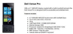 Технические характеристики Dell Venue Pro