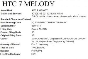 HTC 7 Melody - спецификация