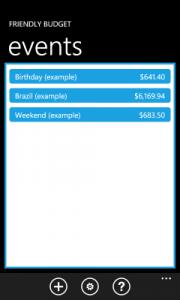 Friendly Budget - основной экран