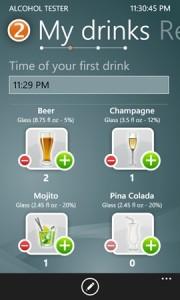 Alcohol Tester - указание выпитого
