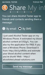 Alcohol Tester - отправка своего состояния другу