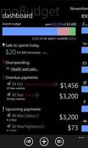 MoBudget - менеджер финансов для Windows Phone 7