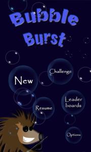 Bubble Burst - основное меню