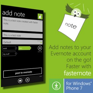 Fasternote - приложение для Windows Phone 7