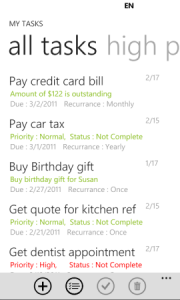 My Task Professional - приложение для Windows Phone 7