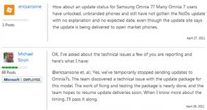 Обновление NoDo для Samsung Omnia 7 приостановлено