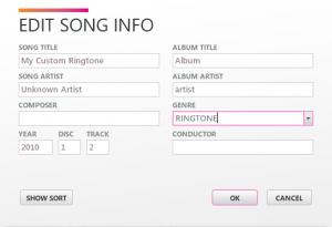 Редактирование информации музыкальной композиции