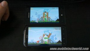 Angry Birds на Windows Phone 7 vs Android