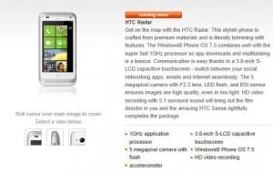HTC Radar в Orange UK