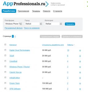 AppProfessionals - разработчики приложений для Windows Phone 7