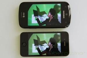 На Samsung Focus цвета более насыщенные, чем на iPhone 4