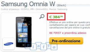 Цена Samsung Omnia W