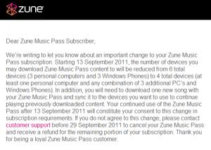C 13 сентября музыкальный сервис Zune уменьшит число синхронизируемых устройств