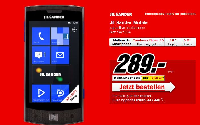 Jil sander lg на windows phone стоит 289 евро