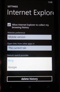 На HTC HD7 появится выбор поискового движка