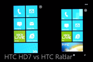 Сравнение HTC HD7 (слева) vs HTC Radar (справа)