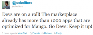 В Windows Phone Marketplace уже более 1000 приложений для Mango
