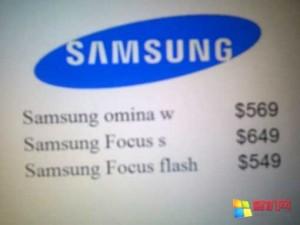 Стали известны цены на Samsung Focus S, Focus Flash и Omnia W