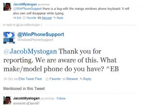 Техподдержка Windows Phone о проблеме с клавиатурой