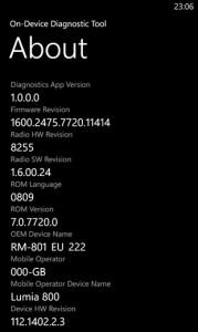 Утилита диагностики на Nokia Lumia 800