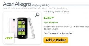 Интернет-магазин Expansys принимает предзаказы на Acer Allegro