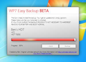 Утилита для создания бекапов Easy Backup Tool для Windows Phone