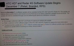 Обновление с интернет-шарингом для HTC HD7 появится 7 декабря