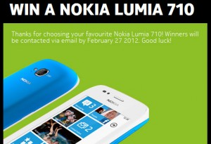 Win one of five Nokia Lumia 710 phones on Facebook
