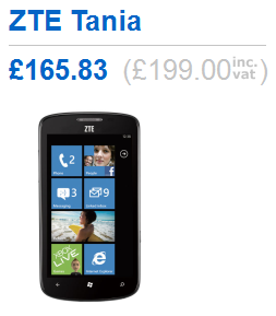 Стоимость смартфона ZTE Tania упала до 199 фунтов
