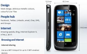 Nokia Lumia 610 может работать в режиме точки доступа WiFi