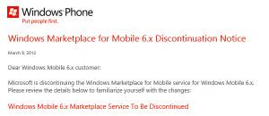 Маркет Windows Mobile 6.x будет закрыт 9 мая
