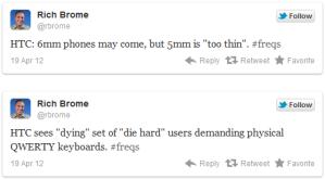 HTC хочет выпускать тонкие смартфоны с мощными аккумуляторами и выдвижными клавиатурами