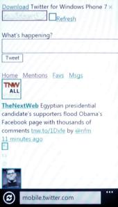 Ошибка в отображении мобильной версии Twitter на Windows Phone