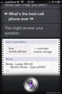По мнению Siri лучший смартфон - это Nokia Lumia 900